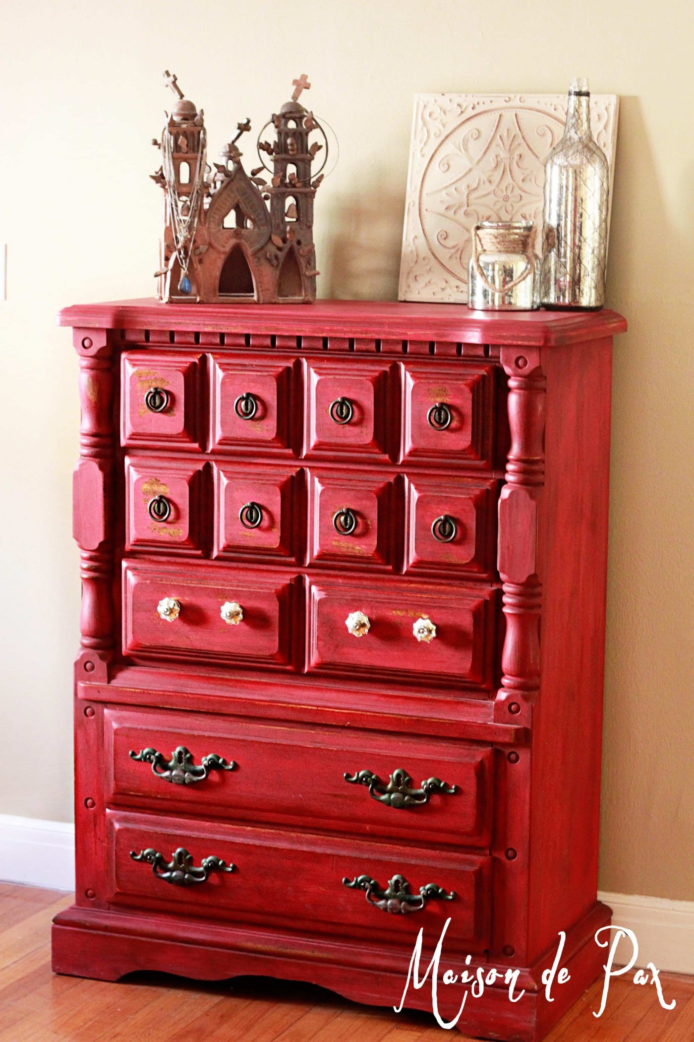 Red painted cabinet- Maison de Pax