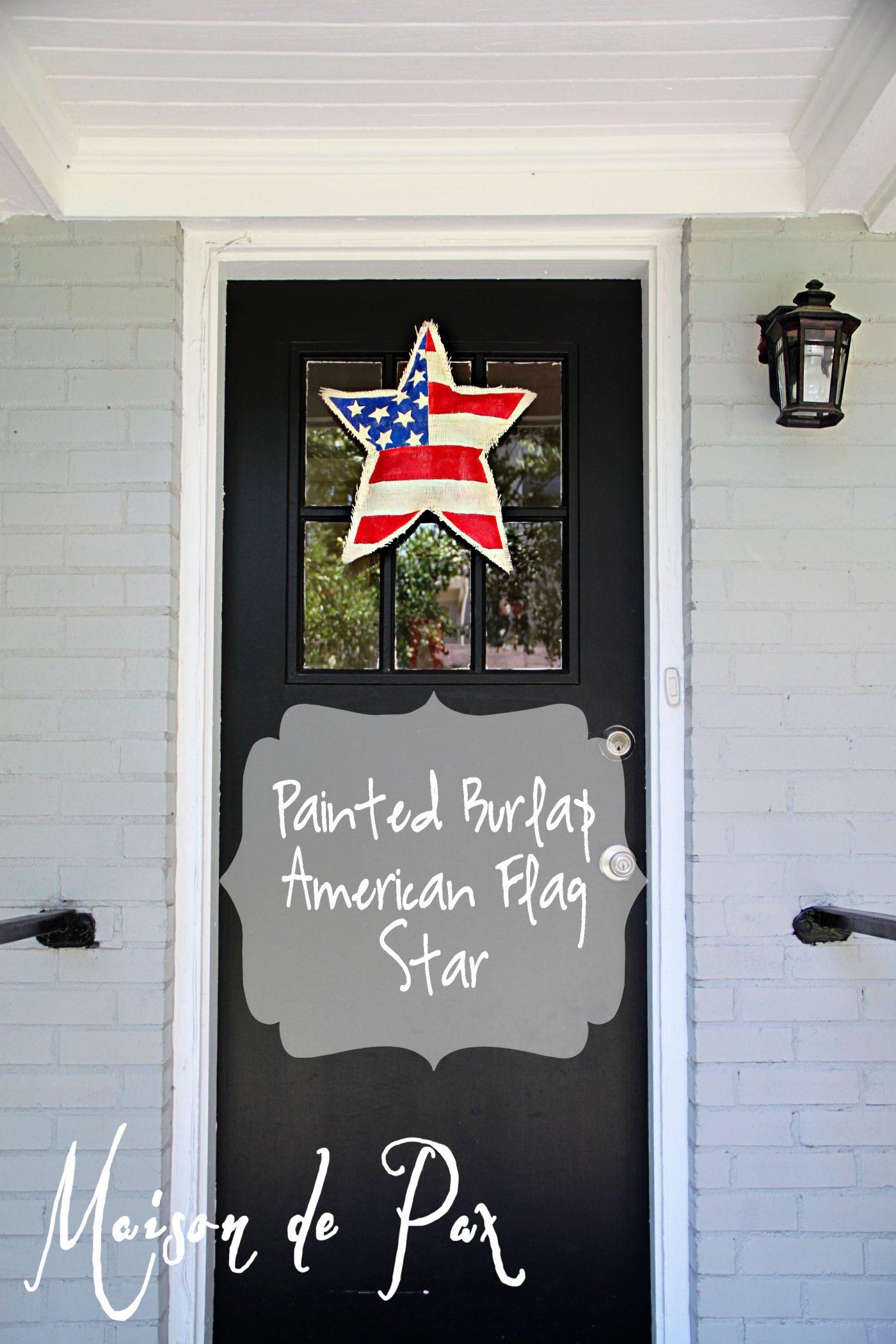 burlap star flag label