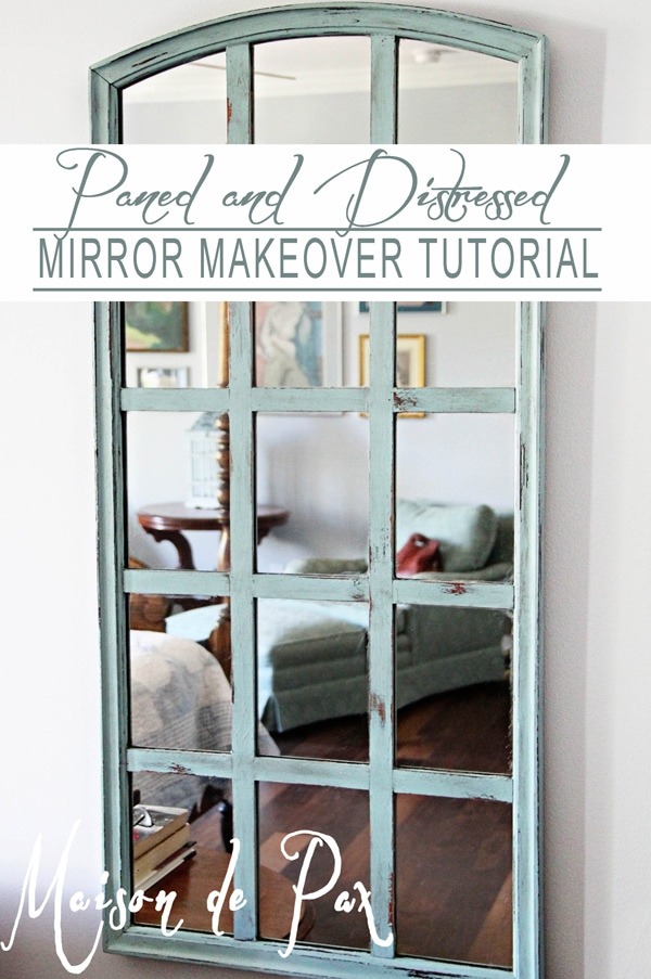 Step by step tutorial to turn a tired, outdated mirror into this gorgeous piece of art at maisondepax.com
