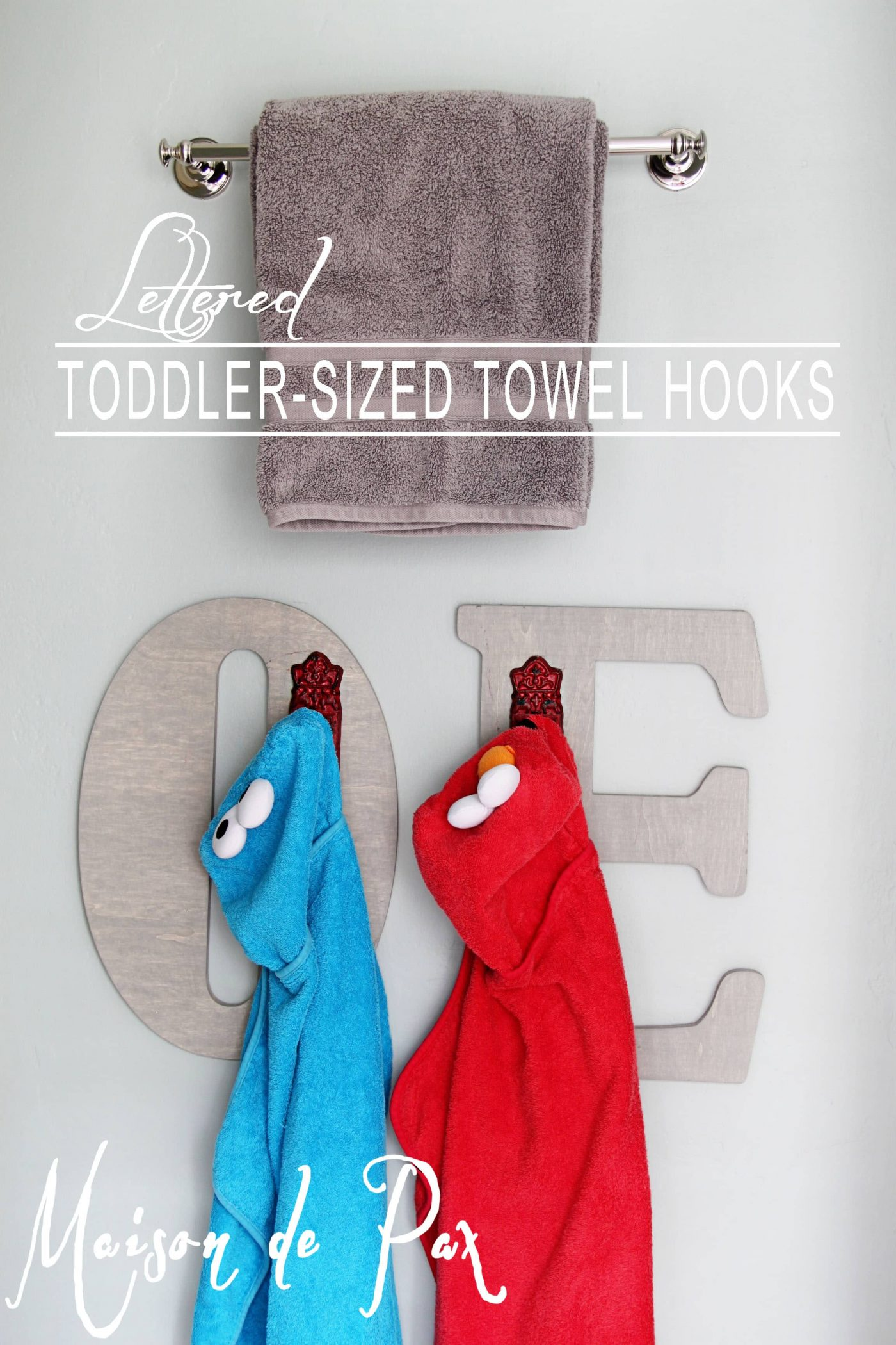 Create your own adorable toddler-sized towel hooks!