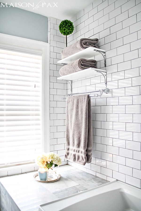 White subway tile in a bathroom- Maison de Pax