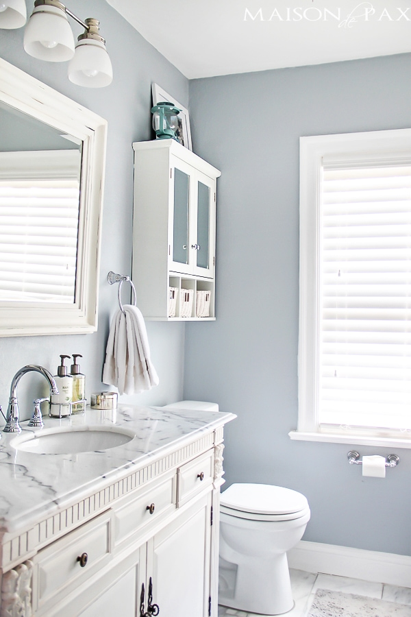 Beautiful Master Bathroom with blue and white decor- Maison de Pax