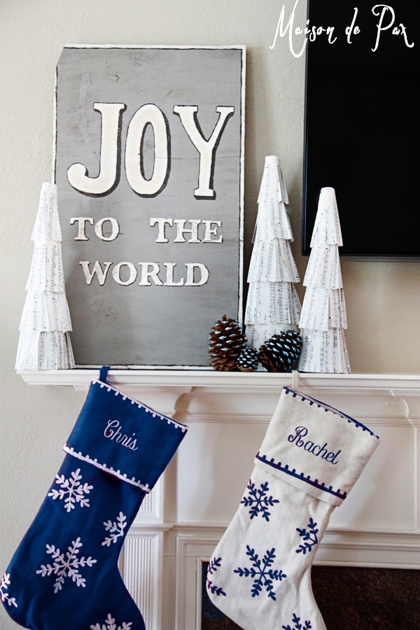 blue christmas mantel
