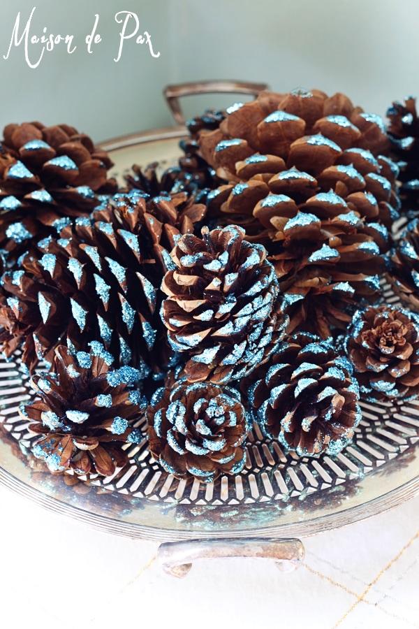 Bowl of DIY glitter pinecones- Maison de Pax
