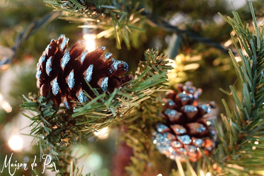 blue glitter pinecones