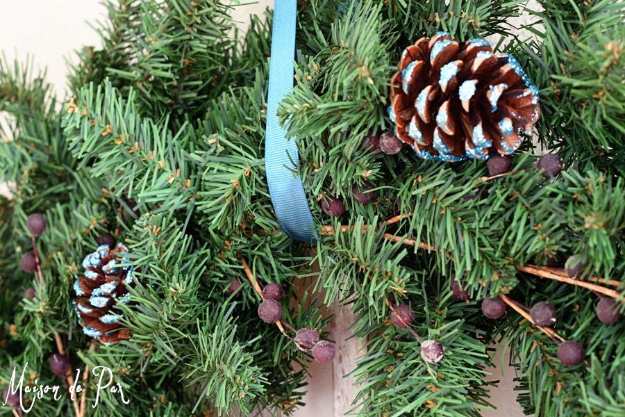 blue wreath ribbon close
