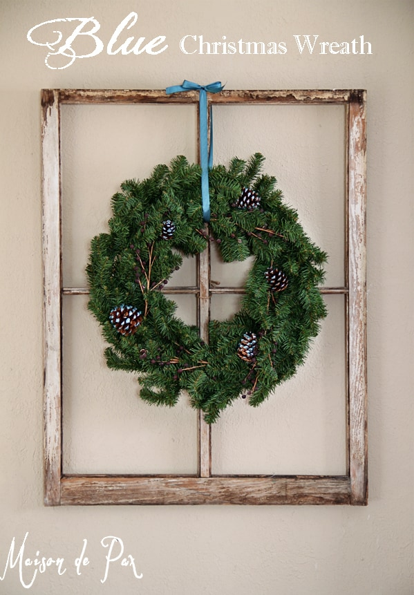 Traditional Christmas Wreath with Touches of Blue