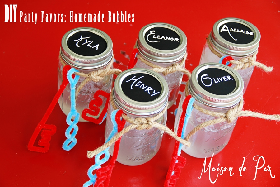 mason jar bubbles with chalkboard contact paper