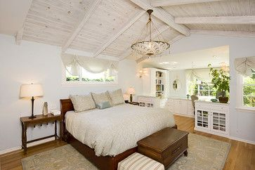 whitewashed vaulted bedroom ceiling
