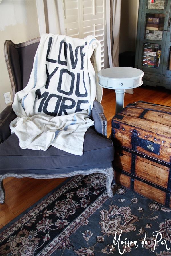 diy grain sack throw blanket with typography- Maison de Pax
