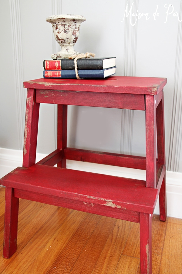 Red vintage step stool- Maison de Pax