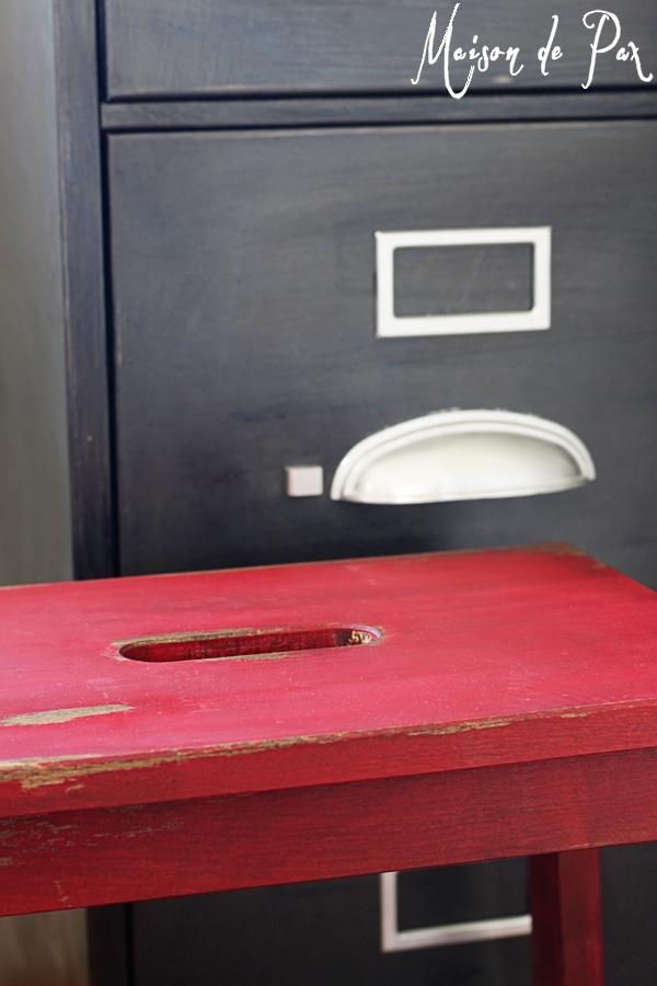 Red vintage step stool- Maison de Pax