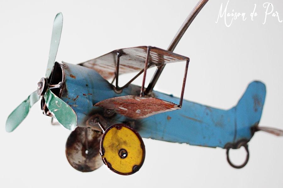 vintage airplane crib mobile blue