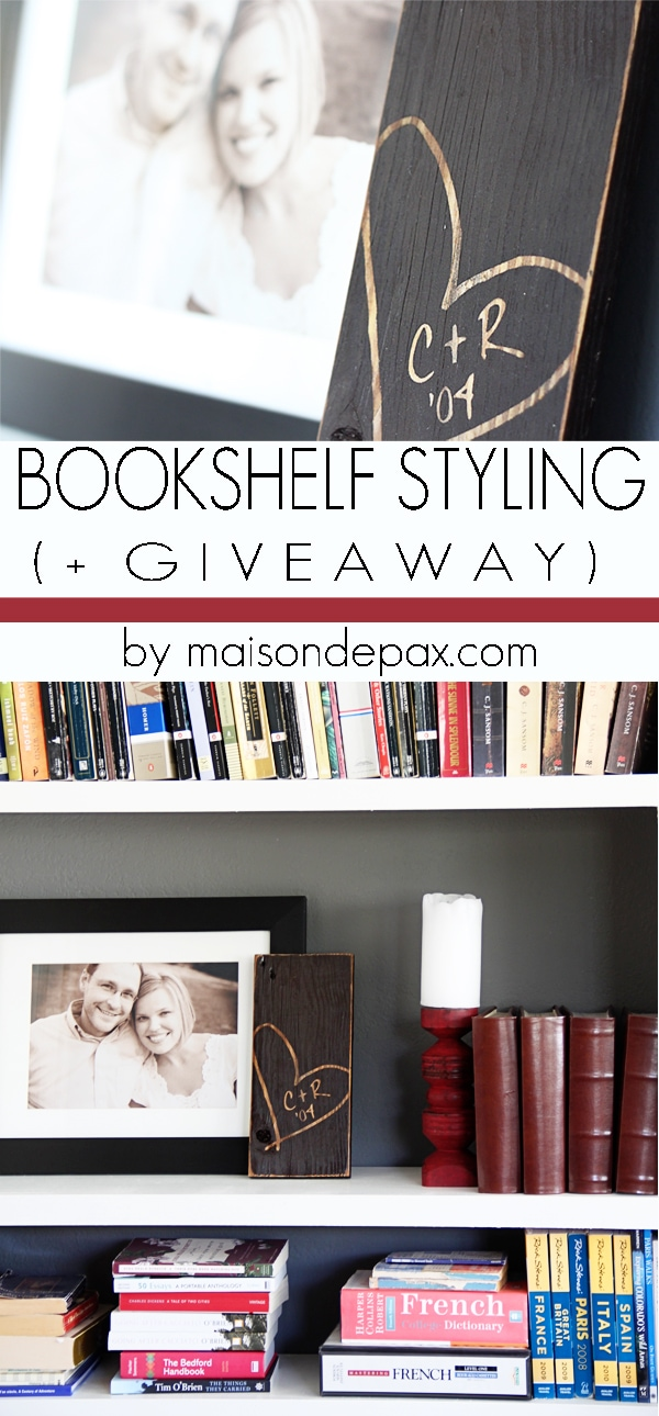 Bookcase Styling with Signs by Andrea + GIVEAWAY