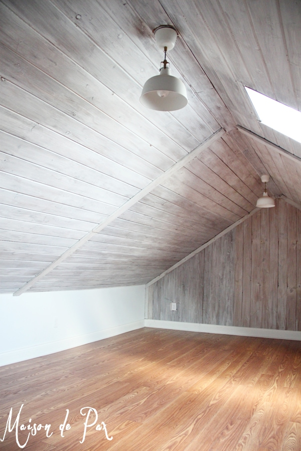 How to whitewash wood in an attic- Maison de Pax