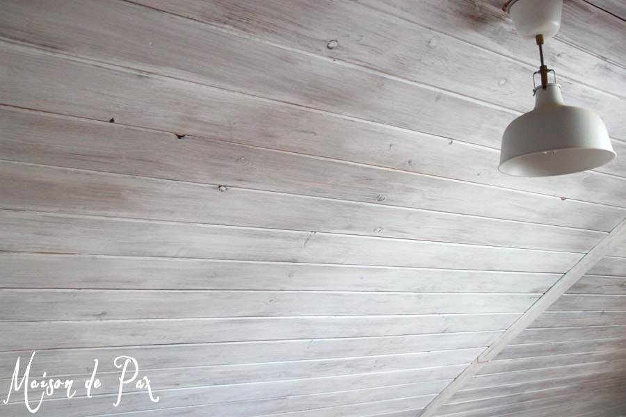 Whitewashed wall and attic planks- Maison de Pax