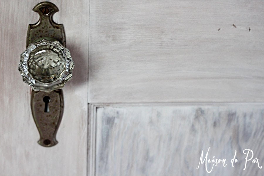 whitewashed door knob close- Maison de Pax