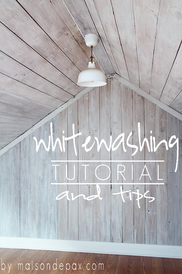 Incredible tutorial for whitewashing planks: ceiling, walls, or furniture... Love this! maisondepax.com