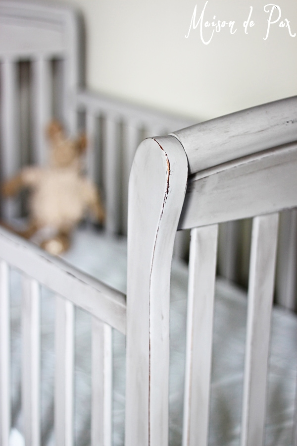 Distressed crib makeover- Maison de Pax