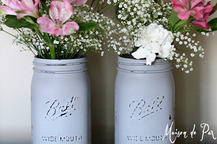 chalk painted mason jars- Maison de Pax