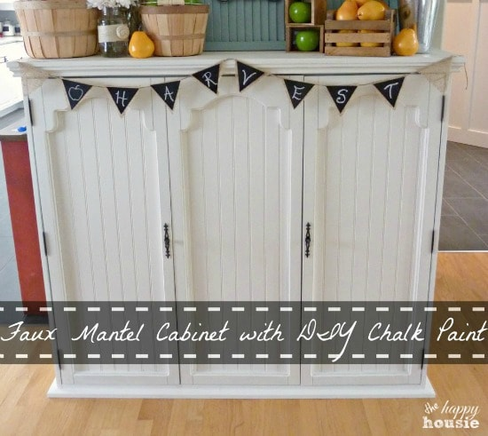 Find out how to make a stunning faux mantel from an old china hutch at maisondepax.com