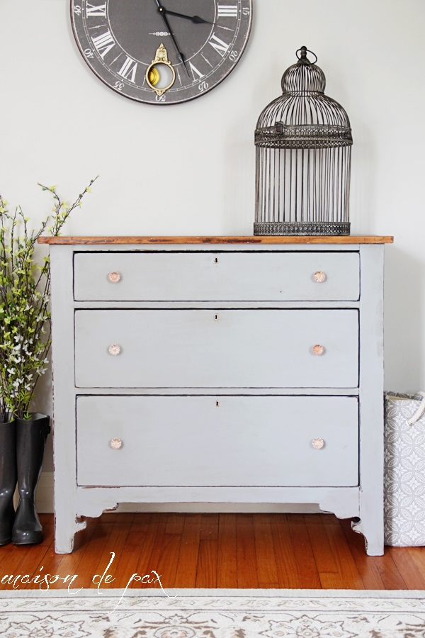 Gorgeous gray farmhouse dresser makeover using Country Chic Paint in Pebble Beach- Maison de Pax