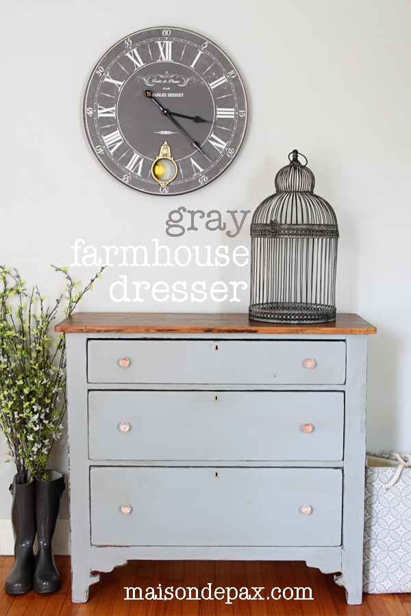 Gorgeous gray farmhouse dresser makeover using Country Chic Paint in Pebble Beach at maisondepax.com #redo #diy #painted dresser #antique #refinished #refurbished #distressed #wax #wood #rustic