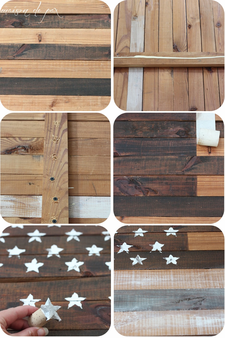 Star stamped plank of an American Flag- Maison de Pax