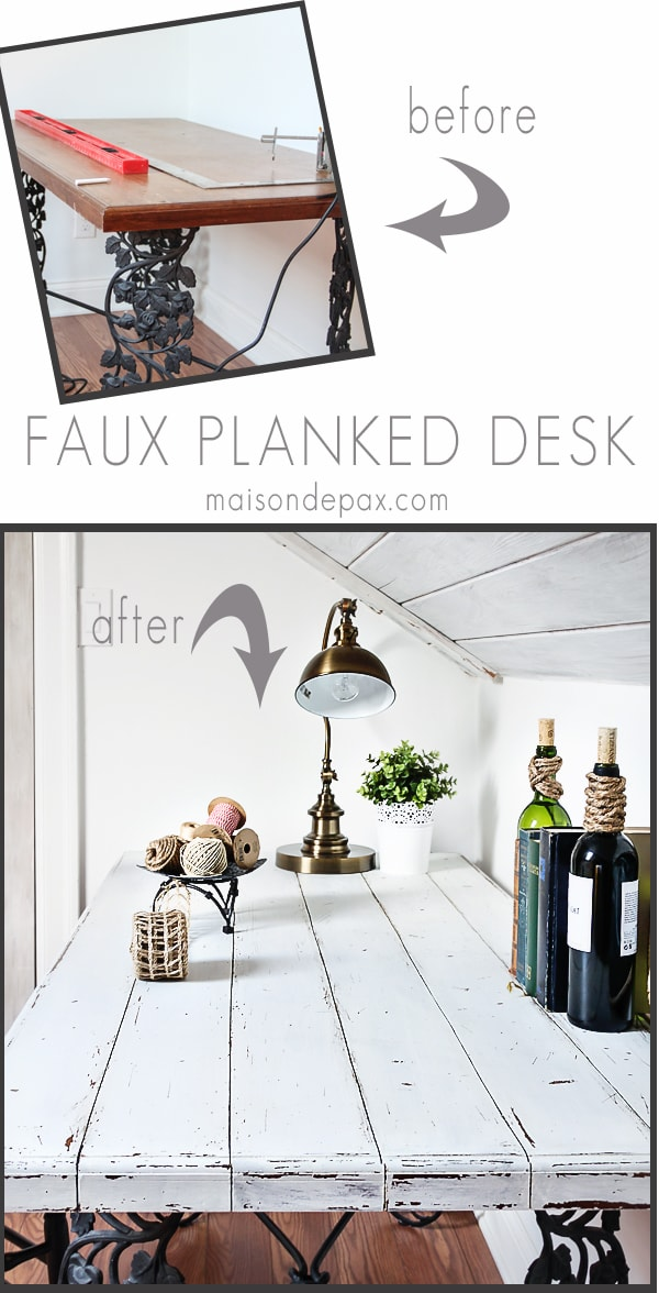 faux whitewashed wood planked desk