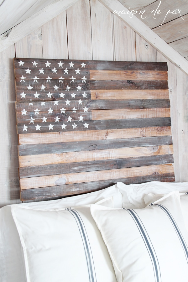 Whitewashed American Flag with stars- Maison de Pax