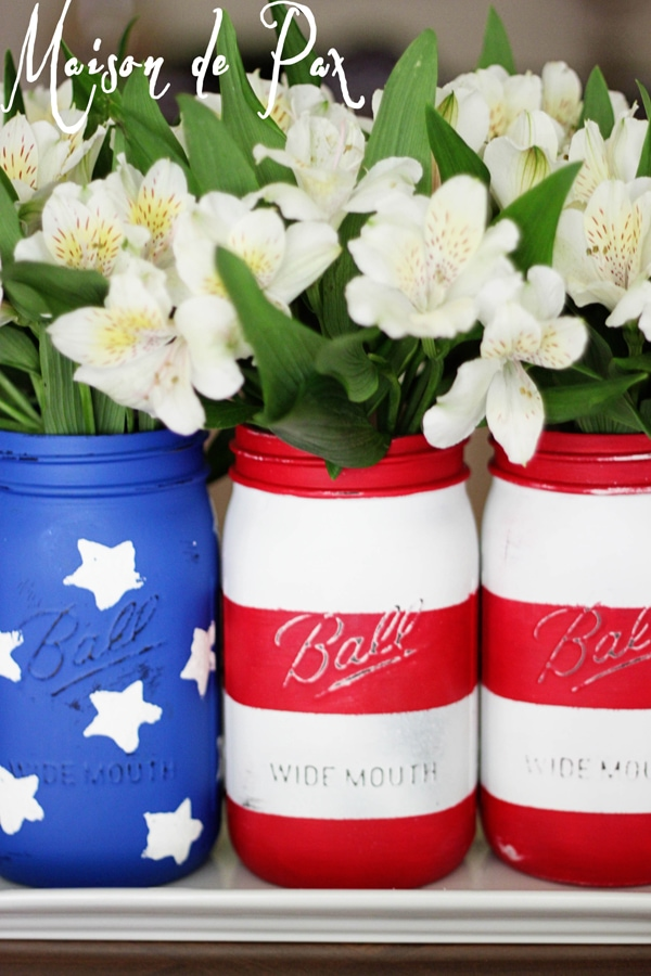 Patriotic red white and blue painted mason jars- Maison de Pax