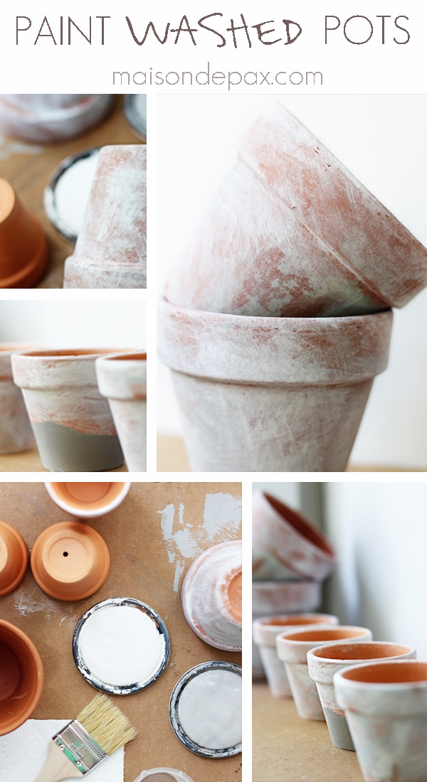 Paint washed pots- Maison de Pax