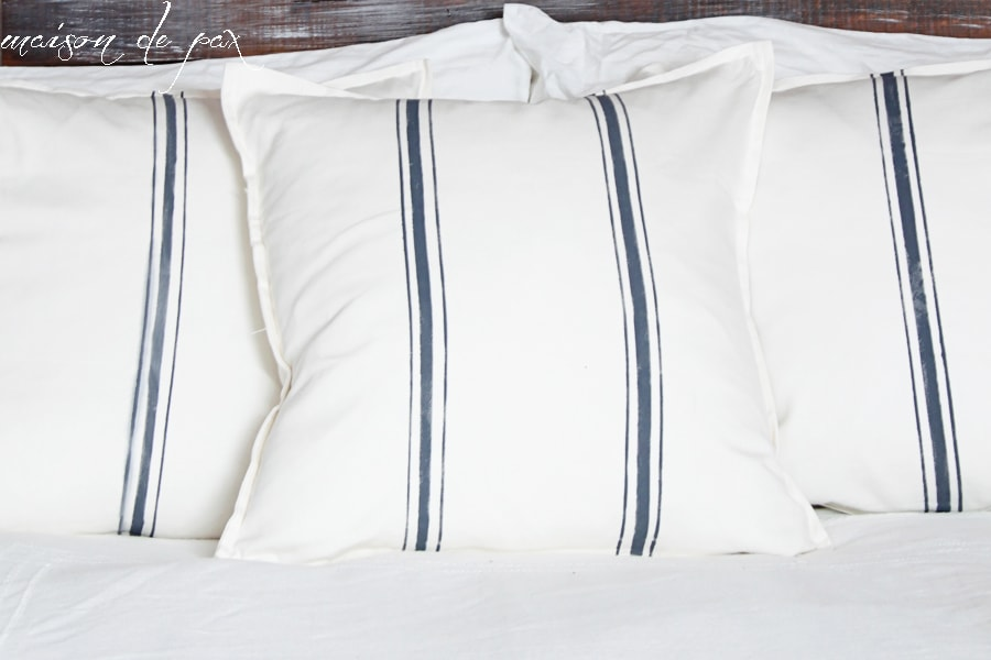 "Find out how to make beautiful ""grain sack"" pillow covers for just $4 at maisondepax.com! #paint #diy #ikea #hack"