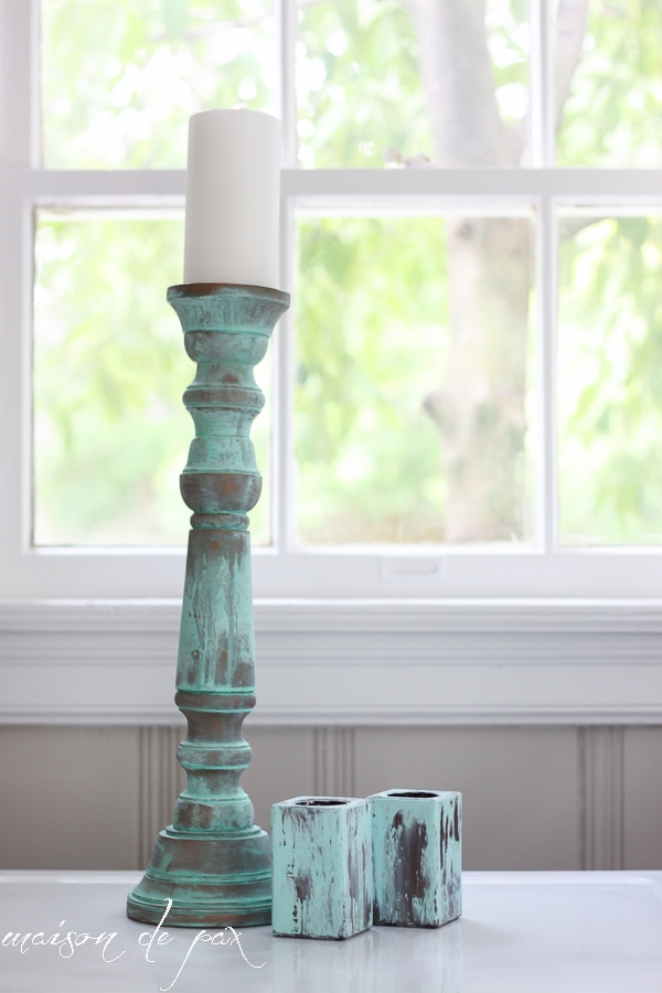 Green and metal candlesticks- Maison de Pax