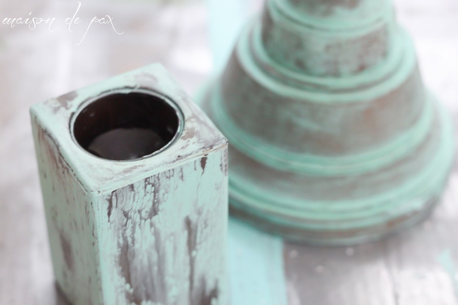 Patina Green Oxidized Candlesticks- Maison de Pax