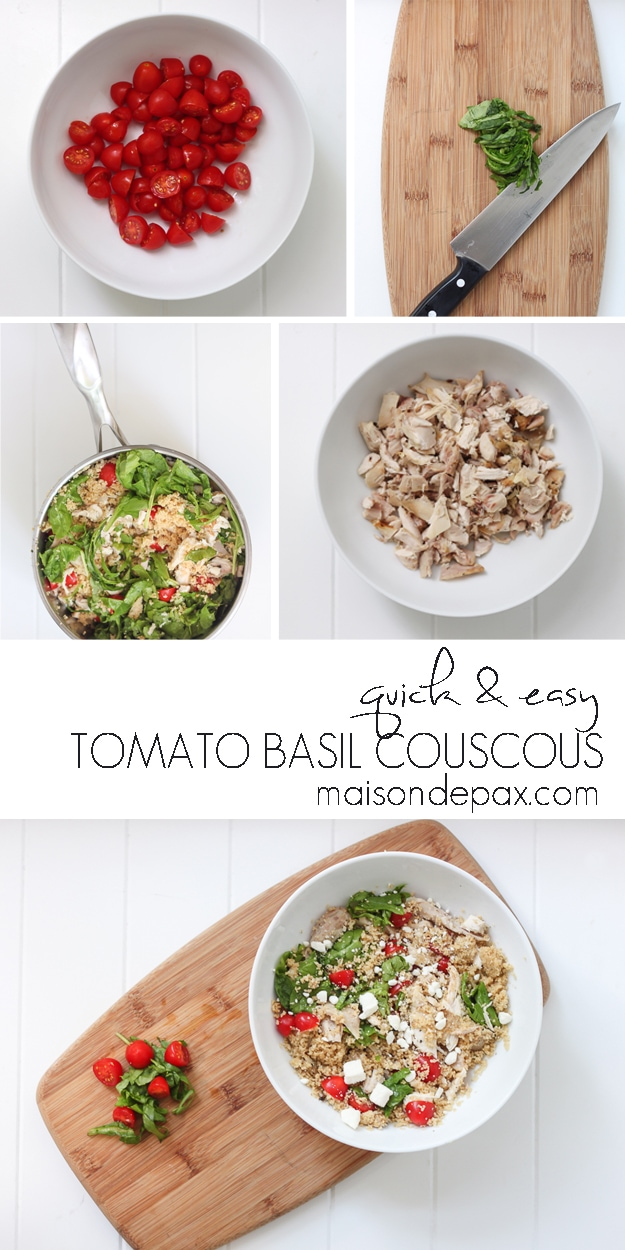 10 minutes or less! Delicious chicken, tomato, and basil couscous is a healthy and easy family favorite... at maisondepax.com