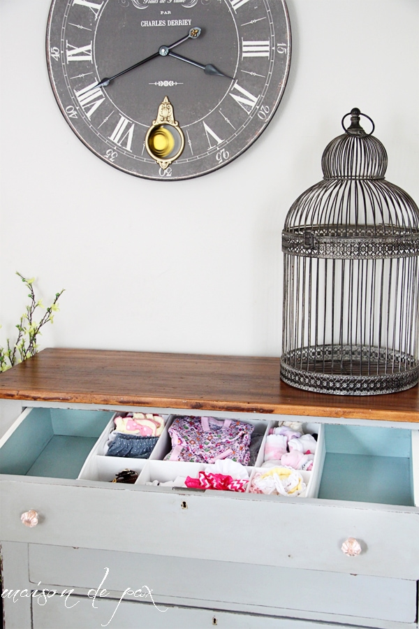 gorgeous chalk paint gray farmhouse dresser with painted drawers at maisondepax.com