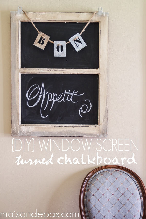 Turn an old window screen into an adorable, versatile chalkboard with this simple tutorial at maisondepax.com! #diy #chalkboard #seasonal