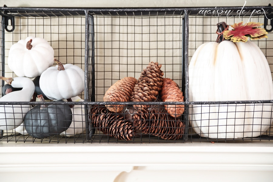 Fall Decor Ideas (mantel basket) with white pumpkins and pinecones- Maison de Pax