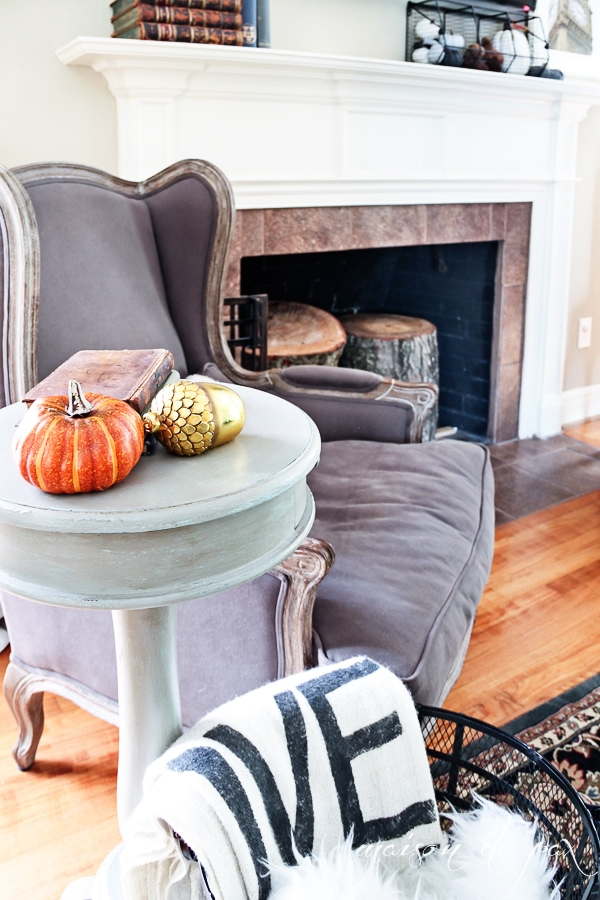 Fall mantle and French Country Chair- Maison de Pax
