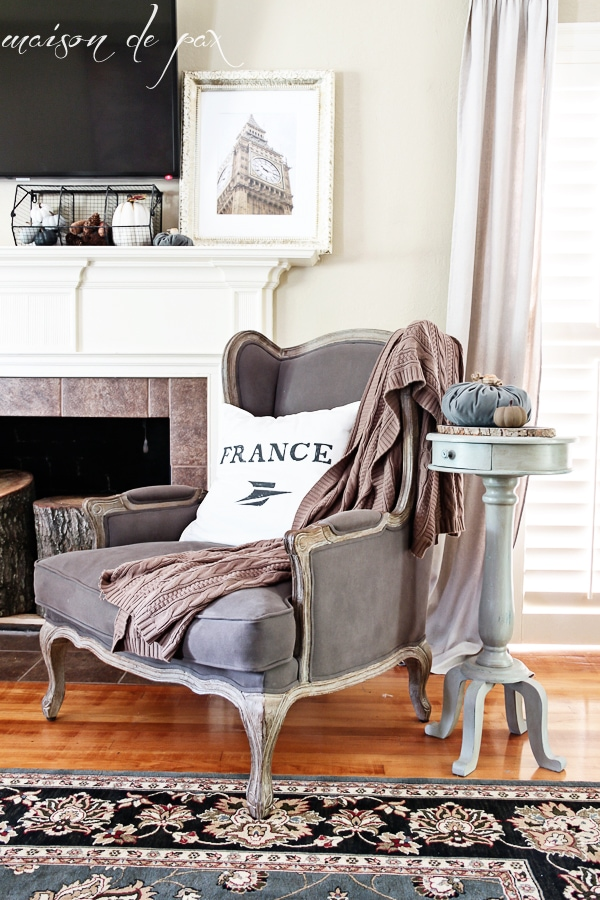 Fall Decor Items with French Country Chair and Cozy Pillow- Maison de Pax