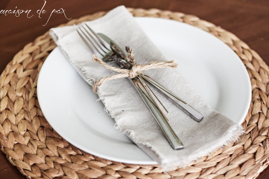 Simple, natural, and beautiful!  No sew drop cloth napkins are SO easy! via maisondepax.com #diy #nosew