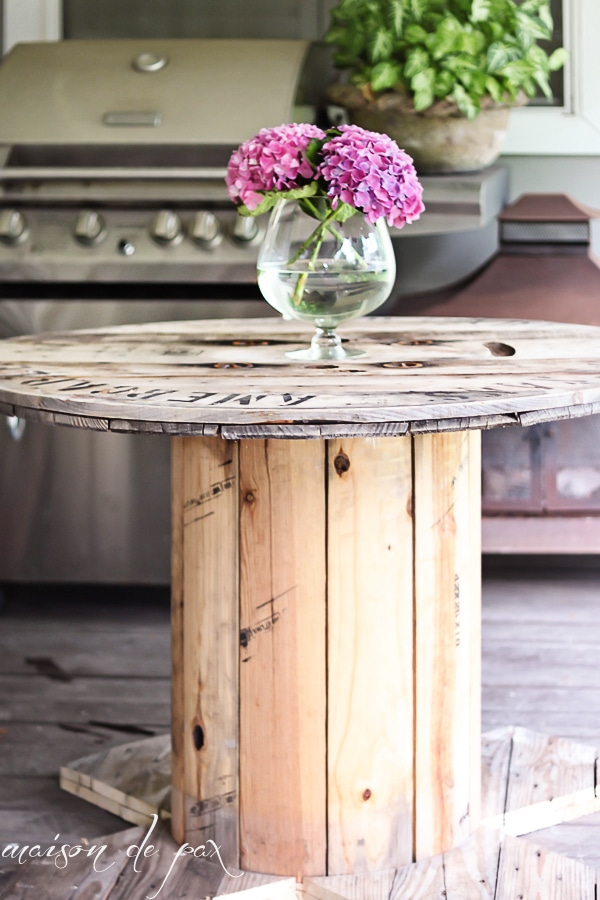 How to make a DIY wooden spool table with DIY tutorial- Maison de Pax