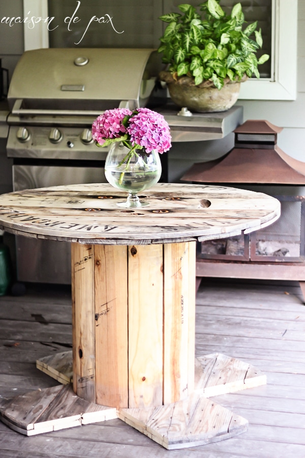 DIY Industrial Spool Table on patio- Maison de Pax