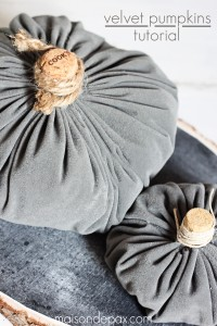 Make your own velvet pumpkins in mere minutes with this easy tutorial via maisondepax.com #diy #fabric #fall #decor