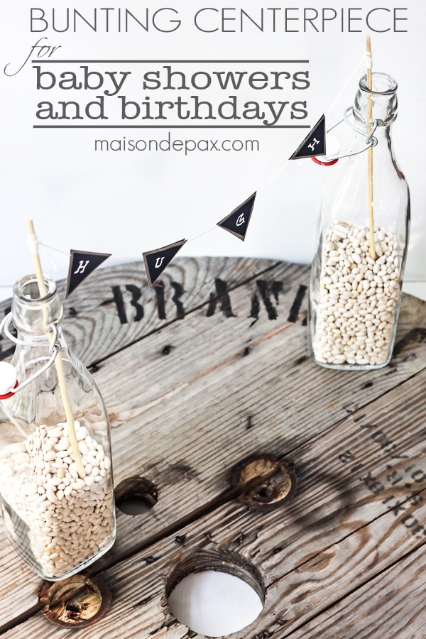 bunting centerpiece with overlay: for baby showers and birthdays | Maison de Pax