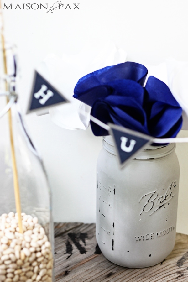 navy and gray centerpieces for boy baby shower | Maison de Pax