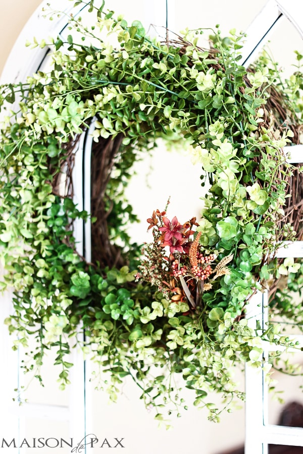 DIY Eucalyptus wreath using faux branches- Maison de Pax
