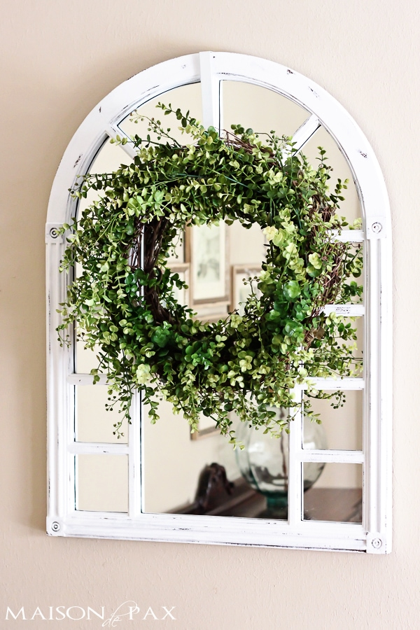 Eucalyptus wreath and farmhouse window frame- Maison de Pax