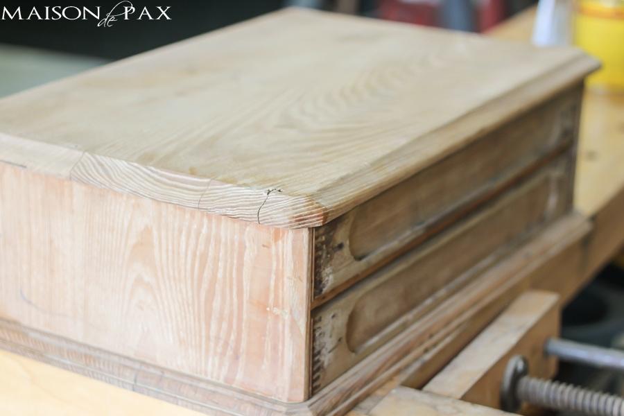 beautiful two-toned antique chest makeover via maisondepax.com #tutorial #diy #stain #paint
